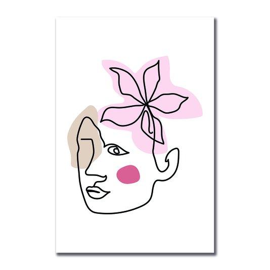 Placa Decorativa Silhueta Flor Rosa