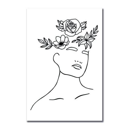Placa Decorativa Silhueta Flores