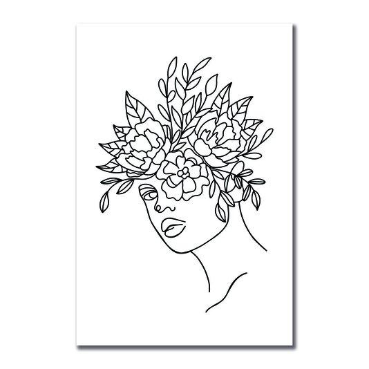 Placa Decorativa Silhueta Flores Desenhadas