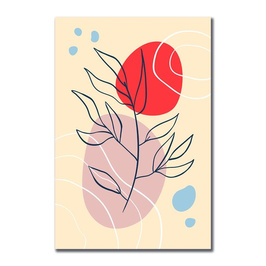 Placa Decorativa Silhueta Galho Com Cores