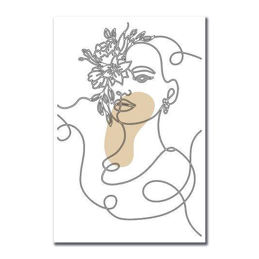 Placa Decorativa Silhueta Linhas Com Flores