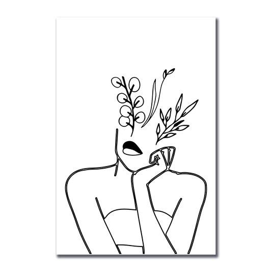 Placa Decorativa Silhueta Mulher Pensativa Traços