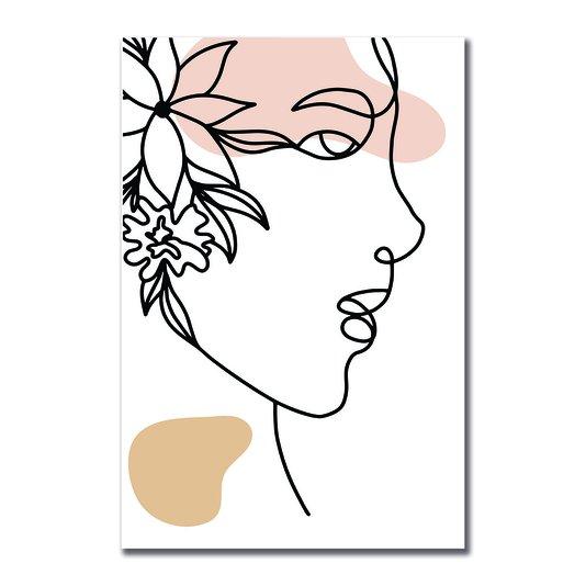 Placa Decorativa Silhueta Perfil Com Flor
