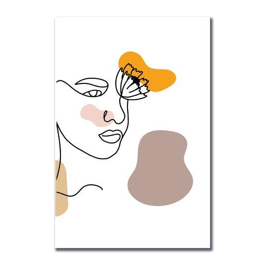 Placa Decorativa Silhueta Rosto Com Cores