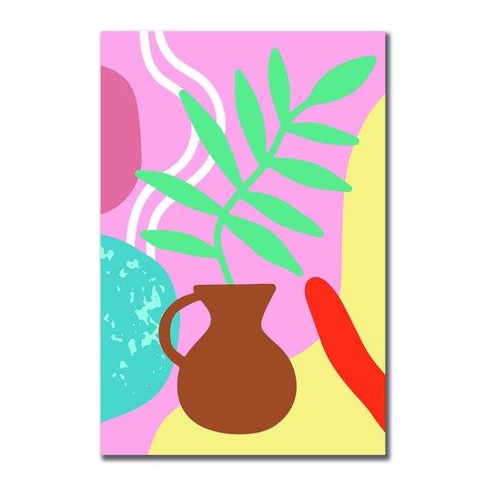 Placa Decorativa Silhueta Vaso Marrom