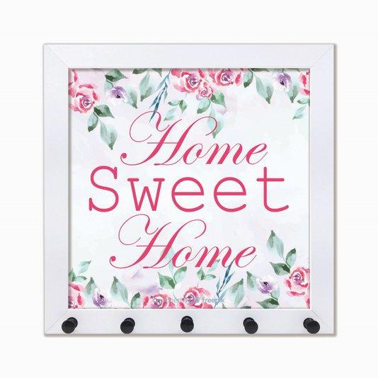 Porta Chaves Home Sweet Home com flores