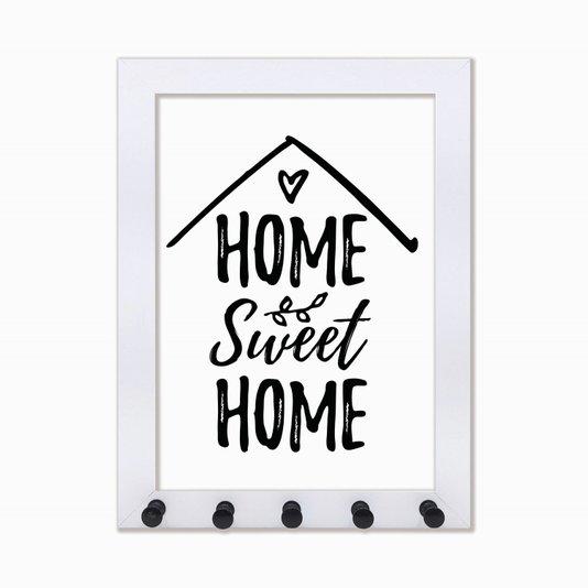 Porta Chaves Home Sweet Home preto e branco