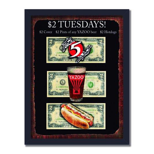 Quadro Decorativo Anúncio Antigo Tuesdays!
