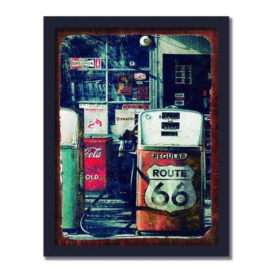 Quadro Decorativo Bomba de Combustível Antiga Route 66