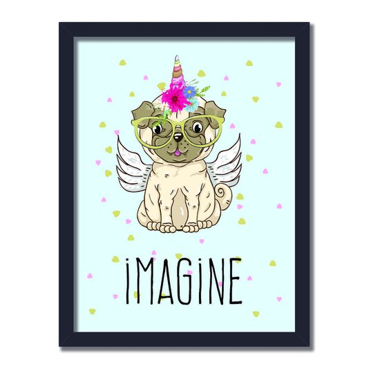 "Quadro Decorativo Cachorro Com Cifre De Unicôrnio Frase: ""Imagine"""