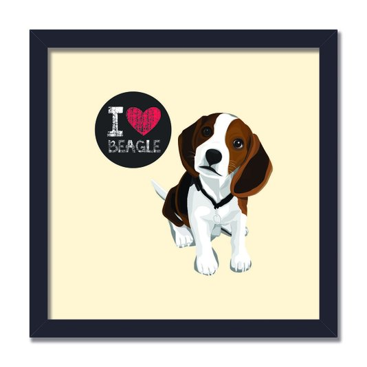 "Quadro Decorativo Cachorro Frase: ""I Love Beagle"" Bege"