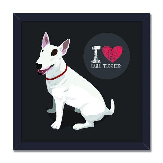 """Quadro Decorativo Cachorro Frase: """"I Love Bull Terrier"""" Cinza"""
