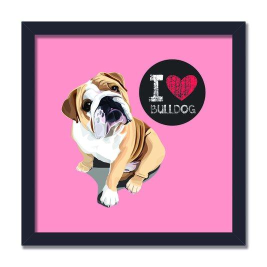 """Quadro Decorativo Cachorro Frase: """"I Love Bulldog"""" Salmão"""