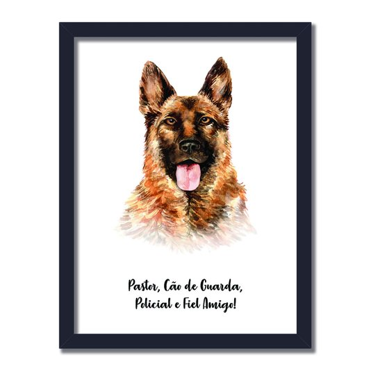 Quadro Decorativo Cachorro Pastor Alemão Características da Raça