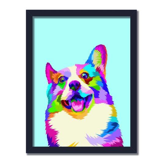 Quadro Decorativo Cachorro Pop Art Lingua Para Fora Azul