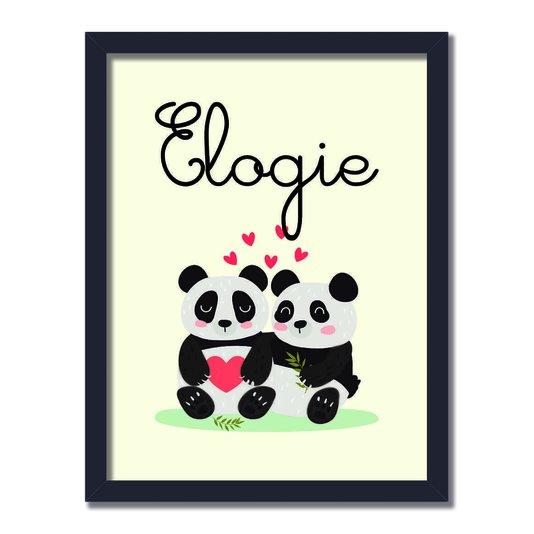 """Quadro Decorativo Dois Pandas Abraçados Frase: """"Elogie"""""""