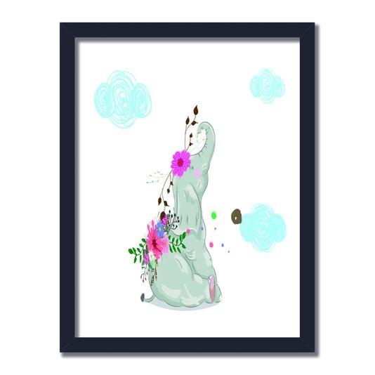 Quadro Decorativo Elefante Cinza Com Flores Nas Costas Olhando As Nuvens