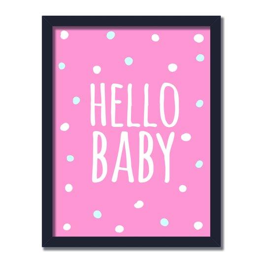 """Quadro Decorativo Frase: """"Hello Baby"""" Rosa e Bolinhas"""