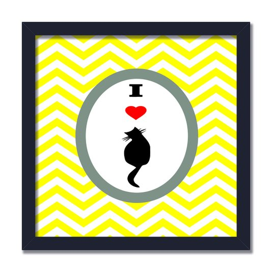"Quadro Decorativo Frase ""I Love Cat"""