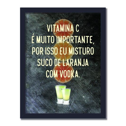 Quadro Decorativo Frases de Boteco - Vitamina C é Muito Importante, Por Isso Eu Misturo Suco de Laranja com Vodqa