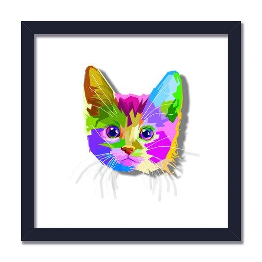 Quadro Decorativo Gatinho Fofo Pop Art e Colorido