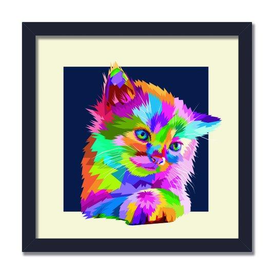Quadro Decorativo Gatinho Fofo Pop Art e Colorido Fundo Bege