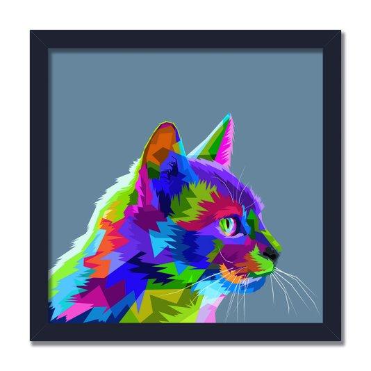 Quadro Decorativo Gato Fofo Pop Art  e Colorido Cinza