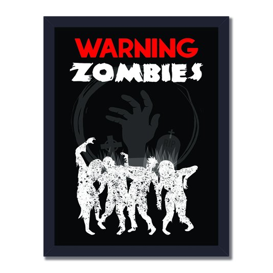 Quadro Decorativo Geek e Nerd Aviso Warning Zombies