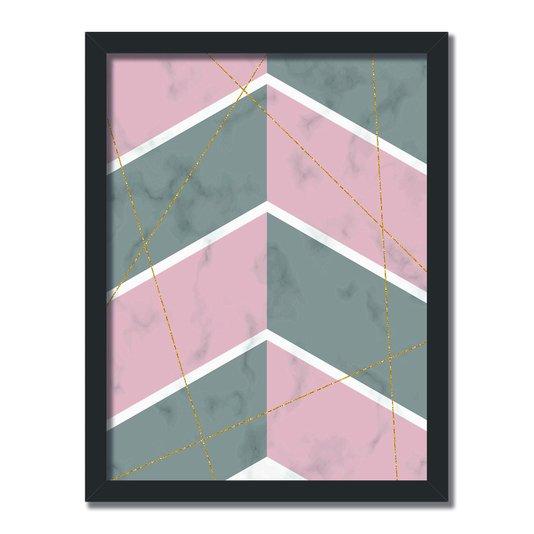 Quadro Decorativo Geométrico Cinza Com Rosa