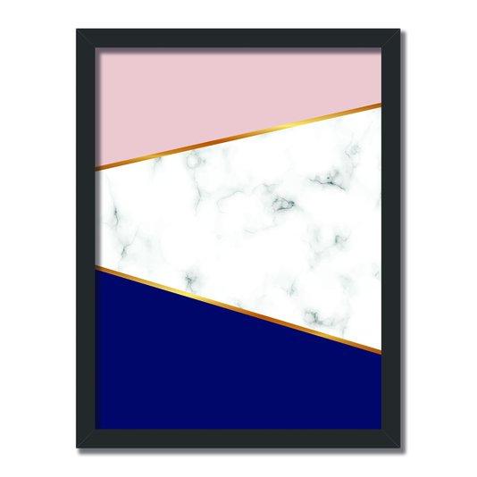 Quadro Decorativo Geométrico Detalhe Em Mamore Branco