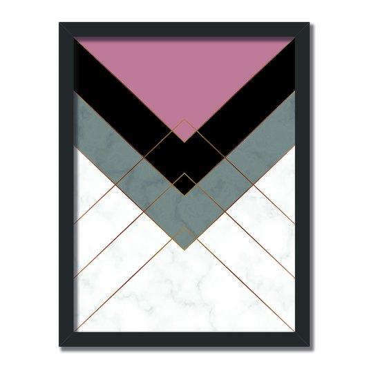 Quadro Decorativo Geométrico Linhas Douradas