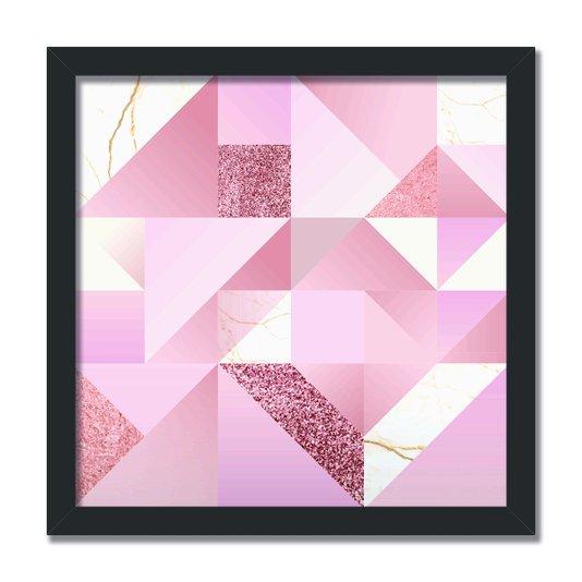 Quadro Decorativo Geométrico Varias Formas Com Tom Rosa