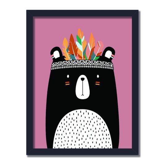 Quadro Decorativo Grande Urso Preto Salmão