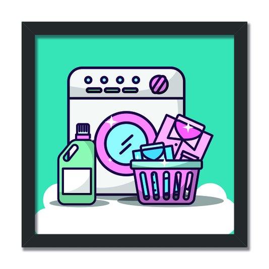 Quadro Decorativo Lavanderia Maquina De Lavar Roupa
