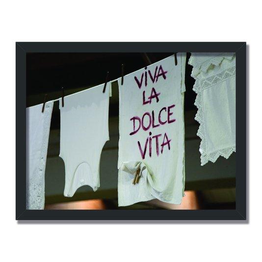 Quadro Decorativo Lavanderia Viva La Dolce Vita