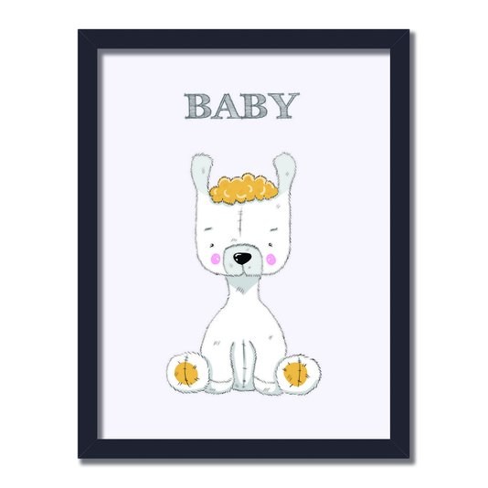 "Quadro Decorativo Lhama Branca Frase:  ""Baby"""
