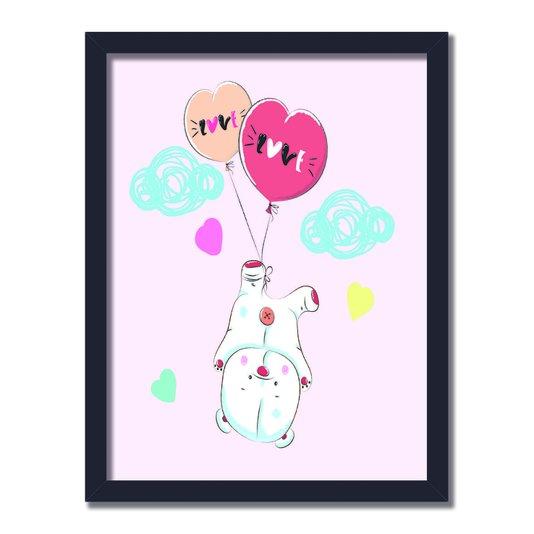 """Quadro Decorativo Pequeno Urso Fofo Preso Em Balões Frase: """"Love"""""""