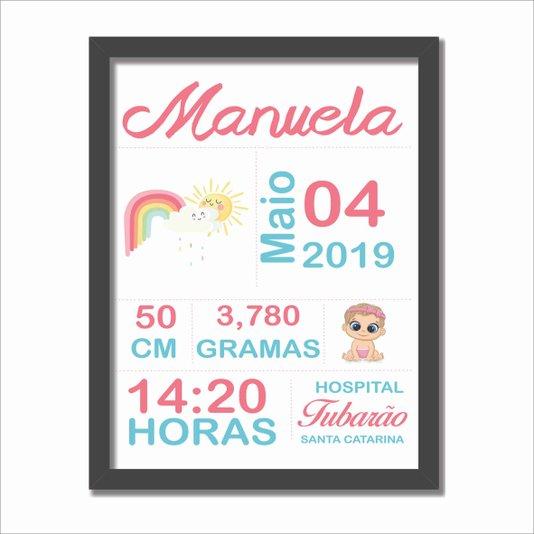 Quadro Decorativo Personalizado Infantil com Informações do Nascimento