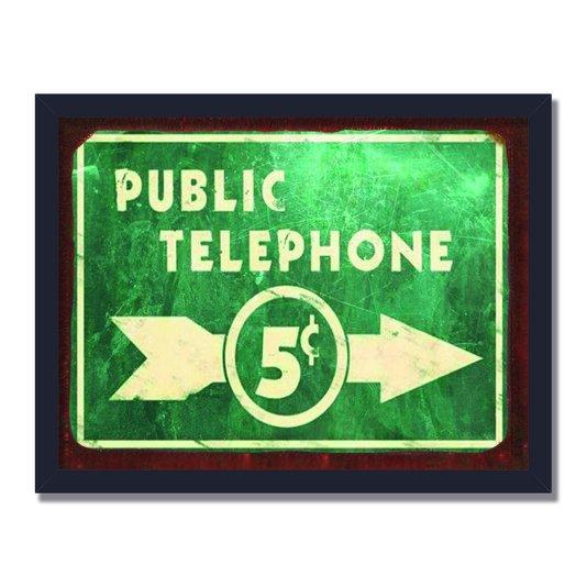 Quadro Decorativo Placa Indicativa Public Telephone