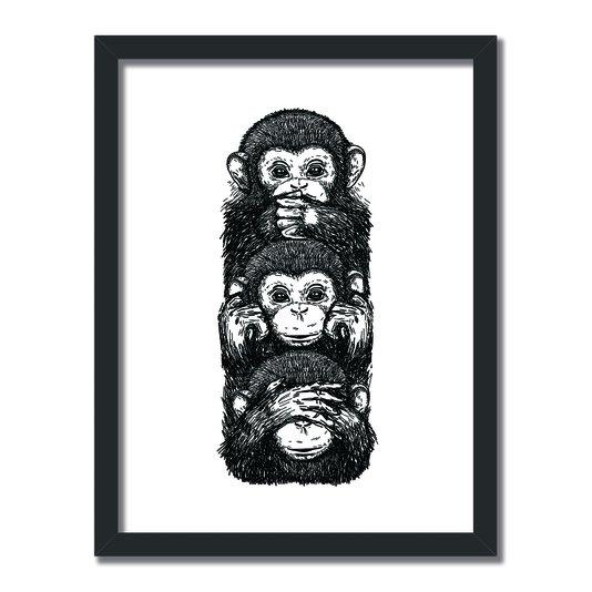Quadro Decorativo Preto e Branco 3 Macacos Cego Surdo e Mudo