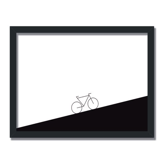 Quadro Decorativo Preto e Branco Bicicleta em Inclinação