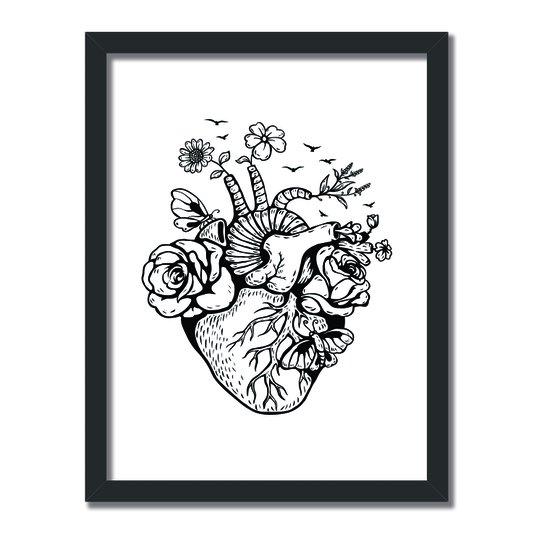 Quadro Decorativo Preto e Branco Coração com Flores