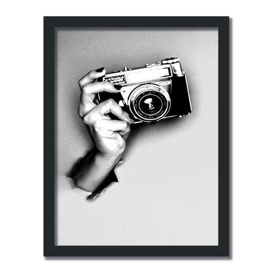 Quadro Decorativo Preto e Branco Mão com Câmera Vintage