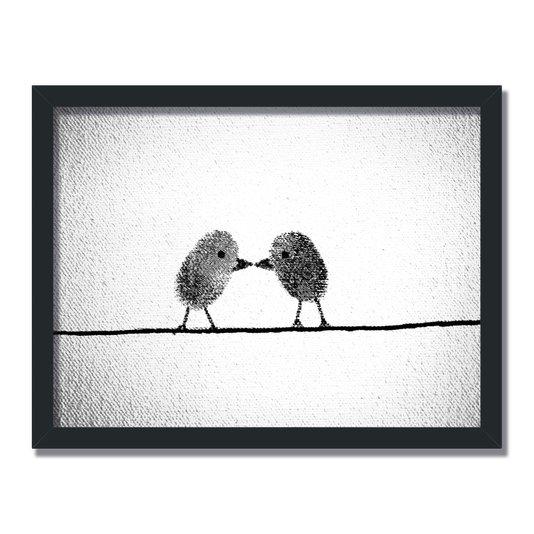 Quadro Decorativo Preto e Branco Pássaros de Impressão Digital