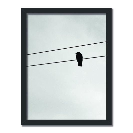 Quadro Decorativo Preto e Branco Pássaro em Fio Elétrico