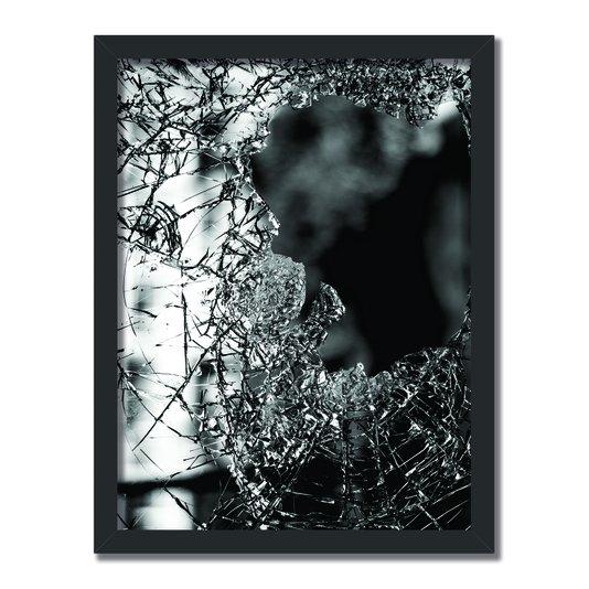 Quadro Decorativo Preto e Branco Vidro Quebrado