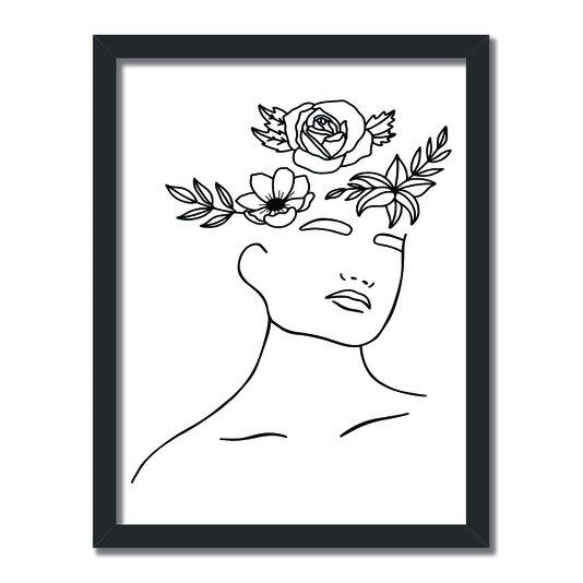 Quadro Decorativo Silhueta Flores