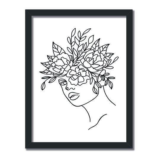 Quadro Decorativo Silhueta Flores Desenhadas