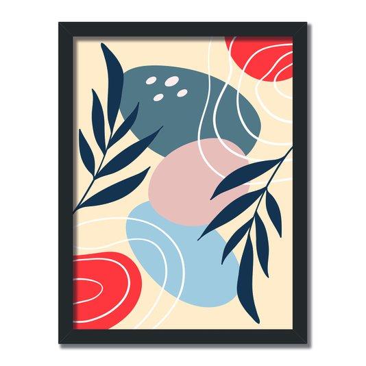 Quadro Decorativo Silhueta Folhas E Circulos