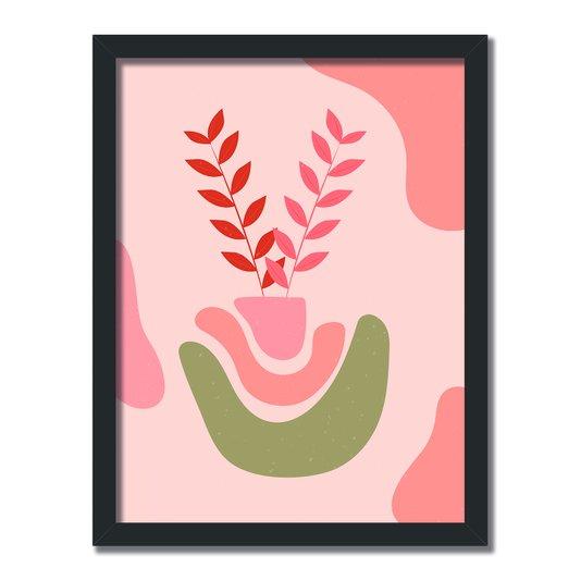 Quadro Decorativo Silhueta Folhas Rosa